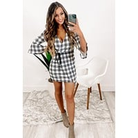 Simply Adored Plaid Dress (Off White)