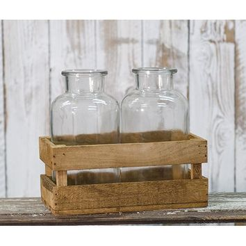 Large Milk Bottles in Wood Crate