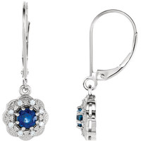 14kt White Gold Blue Sapphire & 1/8 CTW Diamond Halo-Style Earrings