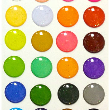 Glitter - 24 Pieces 3D Semi-circular Home Button iPhone iPad Decals Stickers