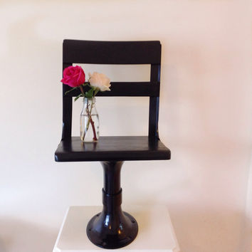The Little Black Chair - Vintage Metal and Wood School Chair.