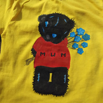 Kids t-shirt with hand painted design of bear teddy/ Me to you hand painted baby t-shirt/ Yellow bright cotton girl boy t-shirt