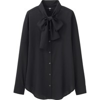 WOMEN RAYON BOW TIE LONG SLEEVE BLOUSE | UNIQLO