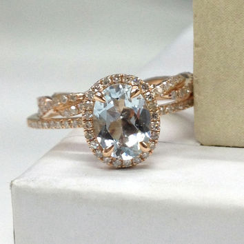 Diamond Wedding Ring Set!Aquamarine Engagement Ring 14K Rose Gold!6x8mm Oval Cut Blue Aquamarine,Wedding Bridal Ring,Halo,Prongs,Stackable