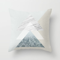 Snow into the forest Throw Pillow by Cafelab