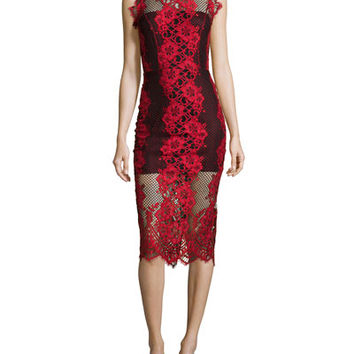 Alexis Rosie Sleeveless Lace-Trim Pencil Dress, Red