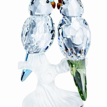 Swarovski Crystal Figurine PAIR OF BIRDS BUDGIES #5268833