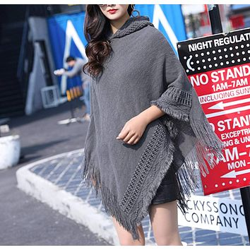Womens Hooded Poncho with Fringe