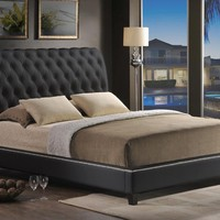 Baxton Studio Jazmin Tufted Black Modern Bed with Upholstered Headboard - King Size Set of