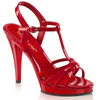 Fabulicious Shiny Red Strappy Flair Sandal