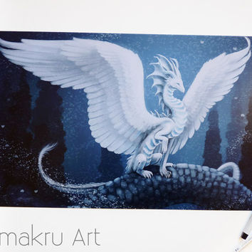 White Snow Dragon | Snow and Ice | Fantasy Illustration | MTG | White Feathers | Blue and White | Art Print | 17x11 Inches