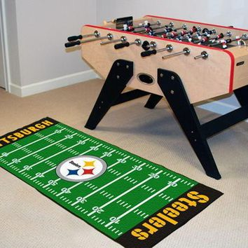 FANMATS Pittsburgh Steelers Field Runner Mat Area Rug, Man Cave, Bar, Game Room