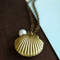 Gold Sea Shell locket with white pearl necklace. Vintage Style Ocean Inspired Necklace