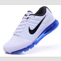 """NIKE"" Trending Fashion Casual Sports Shoes AirMax section Blue black Hook blue soles"