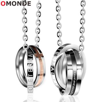 OMONDE Men Women Couples Necklace Double Round Circle Pendant Endless Eternal Love Engraved Neck Lace Jewelry for Male Female