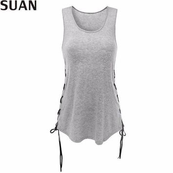ESBONRZ SUAN 2017 Fashion New Summer Women T-Shirts Tumblr Blusa Clothes O-Sleeveless Tops & Tees AAAAA Cotton Solid Stretchable Elastic