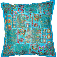 20X20 XL Blue Tribal accent throw pillow, Patchwork Handmade Indian Ethnic cottage Pillow, floor pillow outdoors decorative throw pillow