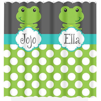 FROG SHOWER CURTAIN Green Gray Turquoise Custom Monogram Personalized Shared Brother Sister Bathroom Beach Towel Plush Bath Mat Made in Usa