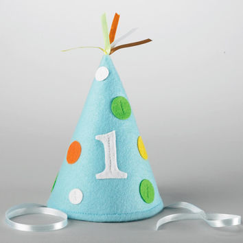 Sweet Safari Blue 1st Birthday Felt Hat