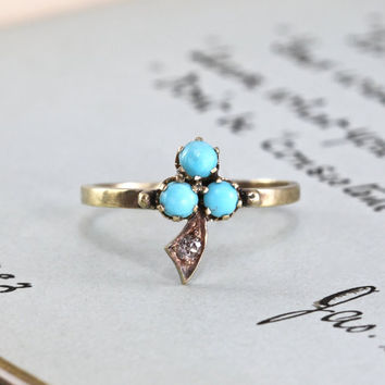 Victorian Turquoise & Diamond Shamrock Ring, 14k Trefoil Clover Motif, Alternative Bohemian Engagement Bridal Ring Statement Jewelry