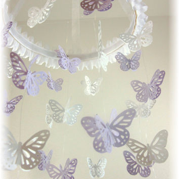 Lavender Grey and  White Butterfly Mobile, Baby Shower Gift, Nursery Decor, Nursery Mobile, Crib Mobile, Baby Mobile