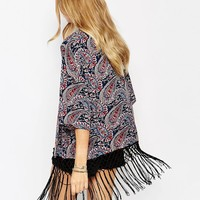 Only Printed Kimono With Fringing