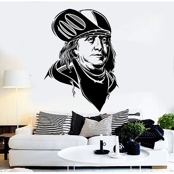 Vinyl Wall Decal Benjamin Franklin Modern Art Money Dollars Stickers Unique Gift (ig4578)