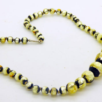 Vintage Venetian Art Deco Gold Foil and Black Glass Graduated Bead Necklace