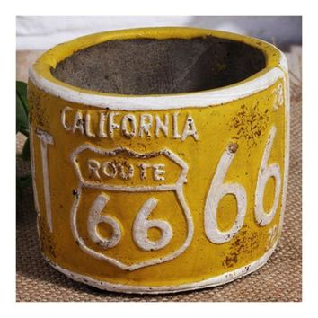 America Vintage 66 Route Car Plate Ashtray Succulent Pot     yellow