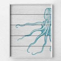 Nautical Octopus Art Print, Nautical Bathroom, Octopus Art, Rustic Nautical Print, Beach Decor, Octopus Decor, Nautical Nursery, Sea Life