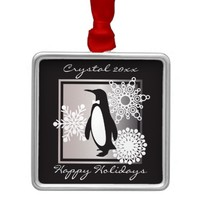 Penguin and Snowflakes Christmas Modern Chic Metal Ornament