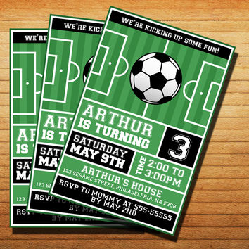 Design Football Soccer PartyInvitation Cards 4x6, 5x7, Customized