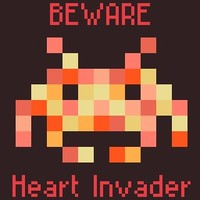 Beware Heart Invader Space Invader Baby Girl Cross Stitch Pattern | Los Angeles Needlework