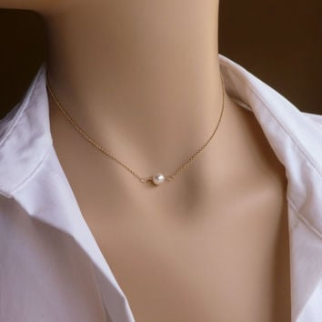 "Gold Floating Pearl Necklace, Hand Twisted, Wire Wrapped Single Pearl Layering Necklace, 16"" - 17"", 18"" - 20"""