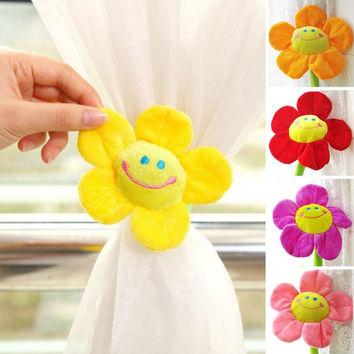 2 pcs Sun flower Window curtain Clasps Holders Buckle Tieback Belt Hook furniture Home Decor accessories