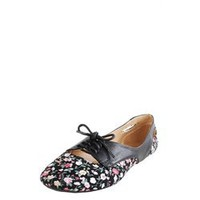 City Classified Grabens Black Laced Up Floral Printed Flats and Womens Fashion Clothing & Shoes - Make Me Chic