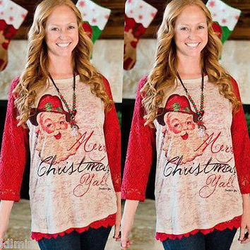 Xmas Merry Christmas Y'all Burnout Santa Red Lace Long Sleeves Cotton Shirt Top