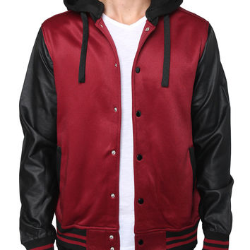 Mens Baseball Jacket with Detachable Hoodie