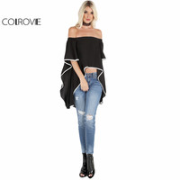 COLROVIE Women Contrast Lined Blouses Black Bardot Waterfall Draped Tops High Low Clothing 2017 Fashion Summer Elegant Blouse