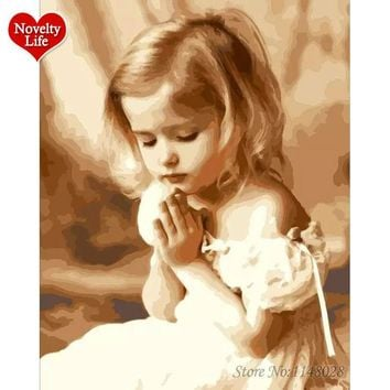 Hot Frame Prayed Girl Oil Painting By Numbers Angel DIY Paint on Wall Kit Coloring By Numbers Canvas Home Decoration Art Picture