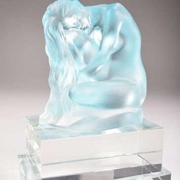Crystal Figurine of Mint Naked Woman with Long Hair Clear and Stained Hand-Crafted Quality Glass