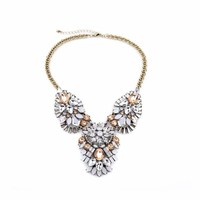 Rose Gold Statement Embellished Necklace