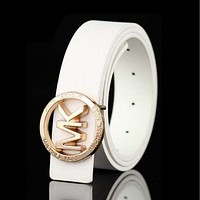 MK Woman Fashion Smooth Buckle Belt Leather Belt F White