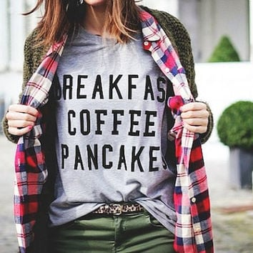 Breakfast Coffee Pancake Shirt Tumbr Tshirt Lazy Sunday Shirt
