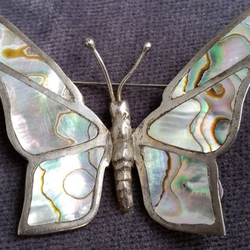 Cuernavaca sterling silver abalone shell butterfly vintage brooch