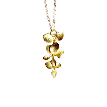 Gold Filled Necklace with Matte Cascading Orchids