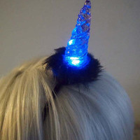Light Up LED Glitter Unicorn Horn - Black and Red