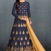Blue and Beige Embroidered Anarkali Suit