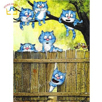 Diy modular paintings by numbers with acrylic paint hand painted cartoon cat picture for drawing wall art for living room WY5094
