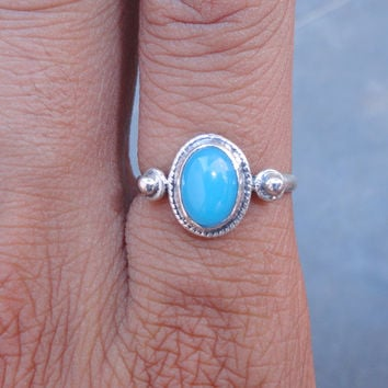Natural chalcedony ring, Blue Stone ring, sterling silver chalcedony ring, Blue Chalcedony silver ring, Gift for her, Ring Size 7.5